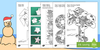 Mindfulness Colouring Christmas Decorations English/Afrikaans - December, celebration, craft, decor, cut, fees, kuns, EAL