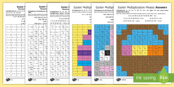 Easter Multiplication Mosaics Differentiated Activity Sheets English/Romanian - UKS2 Easter 2017 (16th April), year five, year 5, Y5, year 6, year six, Y6, maths, multiplication, k