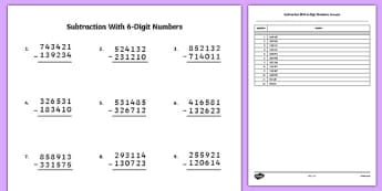 Subtraction with 6 Digit Numbers - bigger numbers, hundred thousands, subtraction, activity