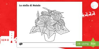 La stella di Natale Fogli da colorare - natalizio, fiori, regalo, colori, italiano, italian, materiale, scolastico