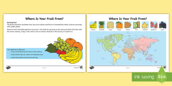 Where Is Your Fruit From? Worksheet / Activity Sheet - Amazing Fact Of The Day, worksheet / activity sheets, powerpoint, starter, morning activity, January, map work,
