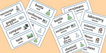 Science Lab Word Cards Romanian Translation - romanian, word cards