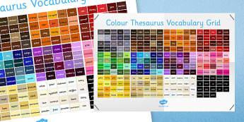 Colour Thesaurus Vocabulary Grid - colour, thesaurus, vocabulary, grid, vocabulary grid