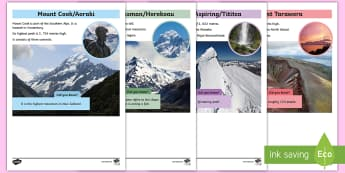 New Zealand Mountains Fact Sheets - my place, mountains, New Zealand, volcanoes, Aotearoa, Years 1-3, geography, topic