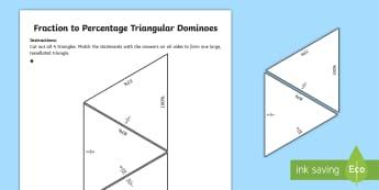 Fractions, Decimals and Percentage Tarsia Equivalence Triangular Dominoes  -  Fractions, Decimals and Percentage Tarsia Equivalence Triangular Dominoes , equivalence, equivalenc