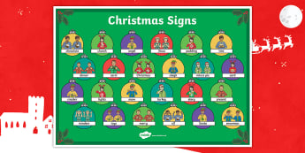 BSL Christmas Signs Large Display Poster