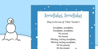 Snowflakes, Snowflakes Rhyme - snowflakes, rhyme, christmas, eyfs