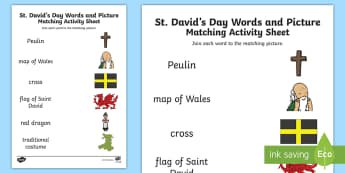 St David's Word and Picture Matching Activity Sheet - Cennin Pedr, cennin, daffodil, leek, Cymru, Wales, Welsh, Cymraeg, cardiau, cards, traddodiad, tradi