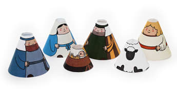 Nativity Cone People - nativity, cone, people, craft, paper