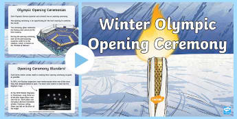 Winter Olympics Opening Ceremony PowerPoint - flame, olympia, sport, athletes, olympic rings