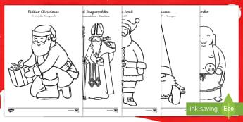 Der Weihnachtsmann weltweit Ausmalbilder-German - Weihnachten, weihnachtlich, Dezember, Advent, malen, ausmalen, anmalen,,German