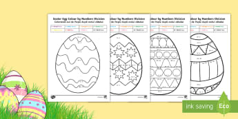 Easter Egg Division Colour by Number English/Romanian - Australia Easter Maths, Easter, Australia, mathematics, year 3, maths, division, colour by numbers,