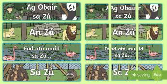 The Zoo Aistear Display Banner Gaeilge - Aistear, Infants, English Oral Language, The Zoo, Irish, Display, Banner, Animals, Irish