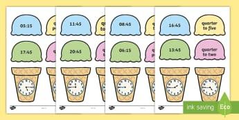 Telling the Time Ice Cream Cone Quarter to and Quarter Past Matching Worksheet / Activity Sheets - Telling the Time Ice Cream Cone Matching Activity - telling the time, ice cream cone, matching, acti
