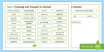 Edexcel Biology Exchange and Transport in Animals Word Mat - Word Mat, edexcel, gcse, gas exchange, transport, diffusion, osmosis, blood, circulation, circulator