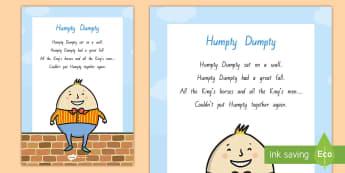Humpty Dumpty Display Poster - NZ Literacy Resources, nursery rhymes, Years 1-3, New Zealand, Aotearoa, poems, English