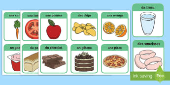 Flashcards : Les aliments sains et malsains - nutrition, nutriments, alimentation, régime alimentaire, cycle 1,French