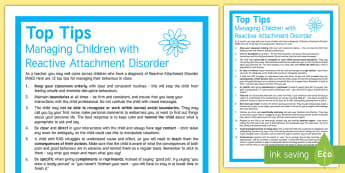 12 Top Tips to Support a Child with Reactive Attachment Disorder Adult Guidance - Requests SEN