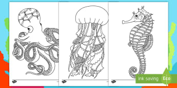 Under the Sea Themed Mindfulness Coloring Activity - under the sea, water, coloring, art, creative, activity