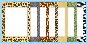 Editable Safari Animal Patterns Themed Portrait Frames - safari, safari pattern writing frames, safari pattern page border, editable safari page borders