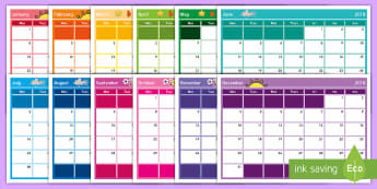 2018 New Zealand Seasons Month-to-a-Page Calendar - 2018, calendar, seasons, planning, year, months