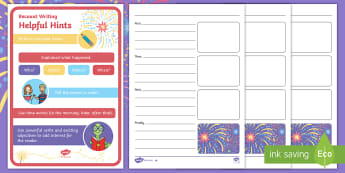 Sparks in the Sky Recount Writing Frame Resource Pack - Twinkl originals, fiction, KS1, EYFS, sequencing writing, time words, recount, fireworks, bonfire ni