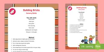 Building Bricks Sensory Bottle - building bricks, sensory, bottle