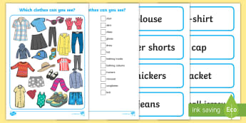 Clothes I Spy Activity Sheet   - clothing, dress, weather, word cards, vocabulary