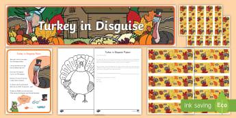 Turkey in Disguise Bulletin Board Pack - Turkey in disguise, thanksgiving, turkey, Thanksgiving bulletin board, Thanksgiving display, novembe