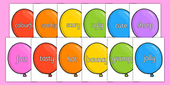 Wow Words on Party Balloons - Wow words, adjectives, VCOP, describing, Wow, display, poster, wow display, tasty, scary, ugly, beautiful, colourful sharp, bouncy