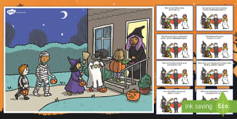 Halloween Scene and Question Cards English/Mandarin Chinese - halloween, scene, question, cards,haloween,halloweeen,hallowen, hallooween, hallowwen, oiche shamhna