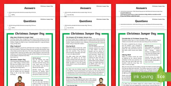 KS2 Christmas Jumper Day Differentiated Reading Comprehension Activity - reading, answer questions, save the children, 15th December, non fiction