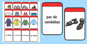 Spanish Clothing Matching Flashcards - spanish, clothing, matching, flash cards, match