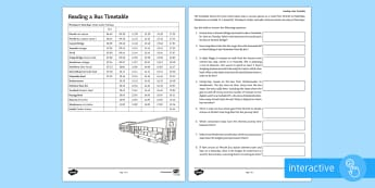 Reading a Bus Time Table Go Respond Activity Sheet - Time, Time Table, bus, timetable