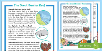 Great Barrier Reef Fact File - Australian landmark, australian geography, Australia, Comprehension, guided reading