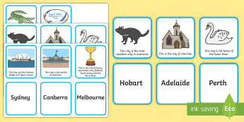 People and Places - Australian Cities Matching Cards - Sight Words, Capital Cities, literacy, Geography, Australia, matching,Australia