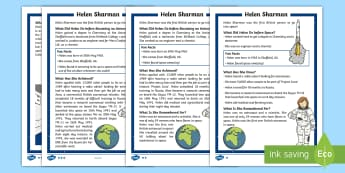 KS1 Helen Sharman  Differentiated Fact File - Space Week, World, Information, Non-fiction, Female, Astronaut
