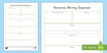 Narrative Organizer Writing Worksheet / Activity Sheet - graphic Organizer, English, Language, Problem, Solution, beginning Middle End