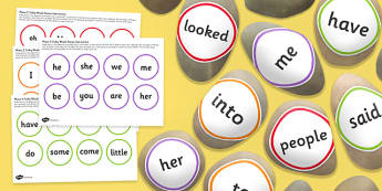 Tricky Words Stone Cut Outs Phase 2 5 Pack - letters and sounds, phonics, early years, ks1, role play, independent activity, kinaesthetic learning