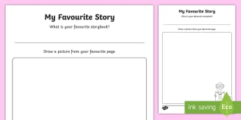 My Favourite Story Drawing  Worksheet / Activity Sheet - Worksheet, Transition Activities, Nursery to Foundation, Classroom Displays, Stories, Favourite Thin