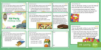 Eid Party Differentiated Maths Challenge Cards - Eid, Mubarak, Eid al Fitr, Differentiated, Maths, Activity, Party Planner