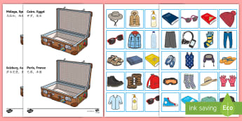 Holiday Clothes Sorting Activity English/Mandarin Chinese - Meerkat mail, - activity, game, fun, clothes, sorting clothes, packing, what to pack, sort clothes,