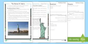 Statue of Liberty Differentiated Reading Comprehension Activity - Statue of Liberty, American Symbols, USA, Ellis Island, Immigration, America