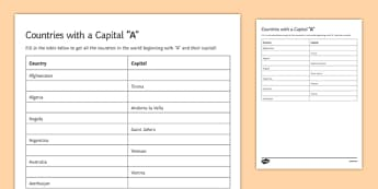 Capitals A Geography Club Activity Sheet, worksheet