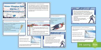 Winter Olimpiese Spele Wat As...? Wiskunde Uitdagingskaarte  - medalje, spel, atletiek, span, lande, vlae, sport
