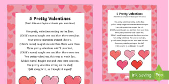 Five Pretty Valentines Rhyme - Valentine's day, love, hearts, friend