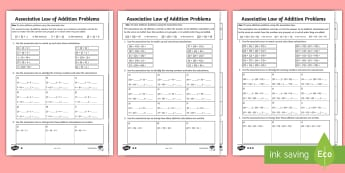 KS2 Maths Associative Law of Addition Differentiated Activity Sheets - Y3, Year 3, Y4, Year 4, Adding, Addition, Associative, adding several numbers, worksheets