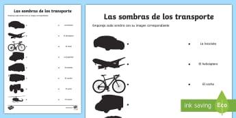 Transport Shadow Matching Activity Sheet Spanish - Spanish, Vocabulary, KS2, transport, shadows, activity, sheet, worksheet