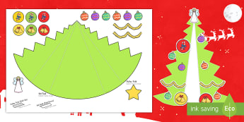 Expanding Christmas Tree Card Paper Craft US English/Spanish (Latin) - Cards, Trees, Display, Poster, EAL, Christmas, decoration