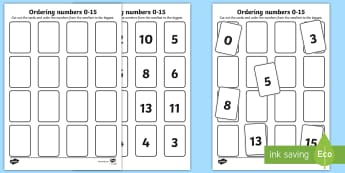 Ordering Numbers 0 to 15 Activity Sheet  - ordering numbers, number sequence, less than 15, number cards, 15 cards, maths,